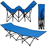AMANKA Faltbett Faltliege Feldbett Blau Camping-Metall-Klappiege ca. 190x70cm 10-Bein Liege...