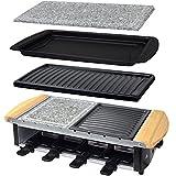 Syntrox Germany Edelstahl Design Raclette Uri mit Grill und Heißem Stein sowie 3 großen Wechselplatten