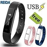 Fitness Tracker, Reida Smart Bracelet mit zwei zusätzlichen Ersatzbändern, Tragbares Armband mit...