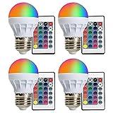(4-PACK) LED RGBW Lampe XJLED Magic Dimmbare 3W LED RGB Glühbirne E27 Fassung mit RGB und...