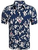 Coofandy Herren Sommer Hemd Kurzarm Hawaiihemd Hawaiishirt Freizeithemd Urlaub Hawaii-Print (L,...