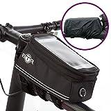 BTR Fahrradtasche mit Mobiltelefon-Halterung - Wasserabweisende Fahrrad-Rahmentasche. Handy Fahrradhalterung. Schwarz Fahrradrahmentaschen. Neue verbesserte Edition, für alle Fahrradtypen geeignet