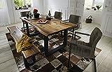 SAM® 6 tlg. Essgruppe Quentin, je 1x Baumkantentisch 200x100cm & -bank 200x40 cm, Akazie-Holz, 4x Schwingstuhl Parzivo in anthrazit