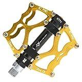 RockBros Fahrradpedale 9/16' MTB BMX DH Platform Pedale Ultralleicht Aluminum (Gold)