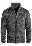 SOLID Herren Pomeroy Strickjacke Cardigan mit Stehkragen aus 100% Baumwolle, Größe:L, Farbe:Black...