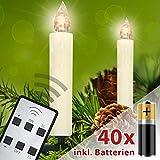 Homelux 40 LED Weihnachtskerzen Christbaumbeleuchtung Warmweiß Fernbedienung Kabellos mit Batterien - 10/20/30/40er Set - DEUTSCHER HÄNDLER