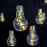 Lichterkette 10x Deko-Birne Glühbirnen mit je 5 LED warmweiß an Kufperdraht für innen außen...