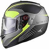 Black Optimus SV Tour Motorrad Roller Klapphelm M Matt Black Safety Yellow