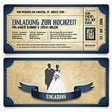 Einladungskarten zur Hochzeit (20 Stück) als Eintrittskarte im Vintage Ticket Look Hochzeitskarten in Blau
