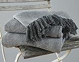 EHC Tagesdecke, King Size, Fischgrätendesign, 100 % Baumwolle, Überwurf für Sofa / Bett, 225x...