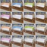 WALDIN Baby Beistellbett mit Matratze und Nestchen, höhen-verstellbar, 16 Modelle wählbar, Buche Massiv-Holz weiß lackiert,weiß