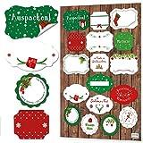 NEU 2017: Aufkleber-Set zu Weihnachten: 72 Weihnachtsaufkleber klassisch in rot grün weiß mit Text Frohe Weihnachten, Frohes Fest, … hübsche weihnachtliche Sticker für Geschenke zum Aufkleben