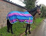 Pferdedecke, Regendecke für Pferde, leicht, ohne Füllung, in Regenbogenfarben, alle Größen erhältlich, regenbogenfarben