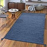 Handwebteppich Wohnzimmer Natur Webteppich Kelim Modern Baumwolle In Blau, Größe:120x170 cm