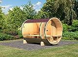 Karibu Fass - Sauna 2 42 mm ohne Ofen - Sparset - inkl. Dachschindeln