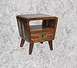 MIENLOCO Vintage Nachttisch im used look Teakholz (3)