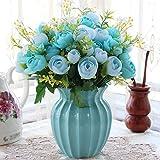 XIN HOME Wohnzimmer Schlafzimmer Innenraum Simulation künstlichen Blumen Anzug Ornamente Home Tabelle Kaffeetisch dekoriert mit gefälschten Topfpflanzen, Hellblau B Blau +4 Strahl Spring Tea Rose