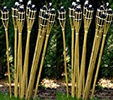 12 Gartenfackel Bambusfackel 120 cm Holzfarben mit Docht & Tank Bambusfackeln Gartendekoration Fackel Gartenfackeln Hochzeit Dekoration Öllampen