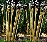 24 Gartenfackel Bambusfackel Holzfarben 120 cm inkl. Dochte STAR-LINE® Bambus Garten Dekoration Bambusfackeln Fackel Gartenfackeln Deko Party-Öllampen
