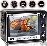 DMS® 48L Mini-Backofen mit Drehspieß Umluft Pizzaofen Ofen , Backofen mit Innenbeleuchtung, Timer...