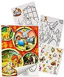 Sticker & Malblock - ' Disney Tiere / Bambi - König der Löwen - Dschungelbuch - Dumbo ' - Malbuch / Malblock - A5 mit Aufkleber - Puuh Bär Tigger - Ferkel - Malvorlagen Malbücher für Jungen & Mädchen - Sammelalbum - Vorlage Klein Stickerblock - Kinder Kind groß z.B. für Stickeralbum