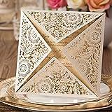 VStoy goldene Einladungskarten, lasergeschnitten, für Hochzeit, Verlobung, Geburtstag, Brautparty, Babyparty Umschlag und Siegel, 20Stück elfenbeinfarben