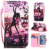 iPhone SE Hülle,iPhone 5 Tasche,iPhone 5s Hülle,iPhone SE iPhone 5 iPhone 5S Leder Cover,Cozy Hut PU Leder Hülle für iPhone SE 5 5S Ledertasche Schutzhülle Case[Stand Feature] Flip Case Cover Etui mit Karte Slots Hülle für iPhone SE / 5 / 5S Tasche Schale,lila Muster Design - Schmetterlings-Mädchen