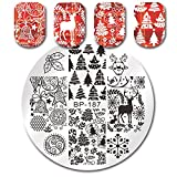 Born Pretty Nail Round Stamping Plate Xmas Tree Jingle Bell Deer Manicure Nail Art Image Plate BP-187
