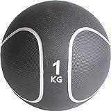 GORILLA SPORTS Medizinball Gummi 5 kg – Fitnessball Schwarz/Silber