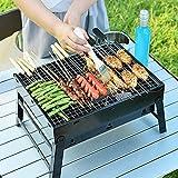 Faltbar BBQ Holzkohlegrill Smoker Grill, Uten Grillwagen Outdoor Tischgrills Picknickgrill für Garten Camping Party Barbecue (S, Schwarz)