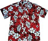 "Hawaiihemd / Hawaiishirt ""Classic Flowers (red)"", 100% Baumwolle, Größe L"