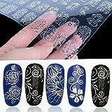 cofco 108pcs 3D Silber Blumen Nail Art Sticker Decals Stamping DIY Dekoration Werkzeuge