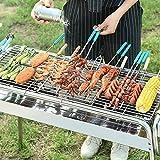 WolfWise Faltbarer Holzkohlegrill, Garten Standgrill BBQ Grill, Schaschlikgrill Outdoor-Tischgrill Reisegrill, für Partys/ Camping/ Outdoor-Reise/ Picknicks, Edelstahl, Silber