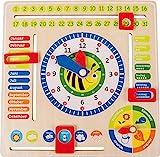 Lernuhr aus Holz, farbenfrohe Lerntafel enthält Datum, Uhrzeit als auch Jahreszeiten, mit drehbaren...