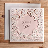 Ponatia Lasergeschnittene Hochzeitseinladungs-Karten, 25-teiliges Set, mit geprägtem, hohlen Blumenmuster, Einladungen für Brautparty, Verlobung, Geburtstag, Babyparty, Abschlussfeier, Tonkartons weiß