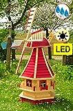 XL-Mühlen XXL Windmühle-Holz, DESIGN-Gartenwindmühle 130 cm, einstöckig KLASSIK MIT BALKON-Rand WMS-RA130-ro-MS ROT Fenster, voll funktionstüchtig,schöne Details, Fensterkreuz Deko-Windmühlen Outdoor, Windfahne / Windrad komplett mit Solar, Solarbeleuchtung DOPPEL-SOLAR LICHT 1,30 m groß dunkelrote Flügel - Leisten roter Korpus unten, für Innen- und Außenbereich, Balkon, Garten und Terrasse, wunderschöne Gartenzierde