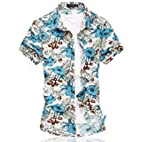 Herren Urlaub Strand Hawaii Blattaufdruck-Hemd