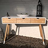Weißer Konsolentisch aus Holz mit drei Schubladen im skandinavischen Retro-Design 120 x 30 x 80 cm...