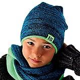 AJS Jungen Kinder Winterset Wintermütze Strickmütze Beanie Mütze Loopschal mit Wolle Farbe...