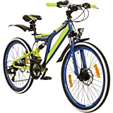 24 Zoll MTB Fully Galano Adrenalin DS Mountainbike STVZO Jugendfahrrad, Farbe:dunkelblau