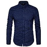 AIYINO Herren Bedruckte Hemd Langarm Baumwolle Freizeit Slim Fit (Medium, 17-Navy)