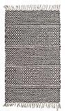 Fransenteppich Wohnzimmerteppich Handwebteppich IKAT 1   80x150 cm   Grau   Baumwolle