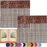Fadenvorhang 2er Pack Gardine Raumteiler, Auswahl: 90x240 braun - schokobraun