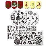 Born Pretty 4Pcs Nail Art Stamping Plate Winter Theme Christmas Tree Santa Reindeer Snowflake Manicure Print Template Image Plate