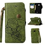 Lederhülle für Microsoft Nokia Lumia 640 Hülle, ZCRO Leder Handytasche Hülle Retro Style Blumen...