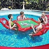 YGJT Mahjong Spiel Tisch Pokertisch 4X aufblasbare Schwimm Sessel / Luftmatratze Family Lounge...