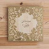 vstoy Gold Laser Schnitt Hochzeit Einladungen Karten Blumen Floral für Geburtstag Partyzubehör Netzteil mit Umschlag und Versiegeln 20 Stück (Gold)