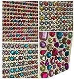 Set aus 1920 Stück glitzernden Strasssteine selbstklebend rund + eckig quadratisch bunt rund + mittelgroß in verschiedenen Formen basteln Gltzersteine Schmucksteine viereckig Strass Steine zum Verzieren von CRYSTAL KING