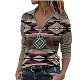 neiabodos Langarm-Bluse für Damen mit Ethno-Druck und Revers mit Reißverschluss, warme Jacke für Herbst und Winter, elastisch, Outdoor-Sweatshirt mit langen Ärmeln., braun, X-Large