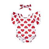 Süßer Overall, 0-24 Monate Neugeborenes Baby Liebe Print Kurzarm Harmonie + Bogen Haarband...